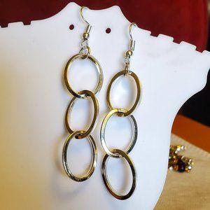 "2"" Silver Tone Hook Layered Circle Dangle Earrings"
